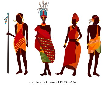 Beautiful, stylish set African people, tribes, African American people dressed in tribal dresses of red colors various decorations, African tribe Modern vector flat design image isolated on white back