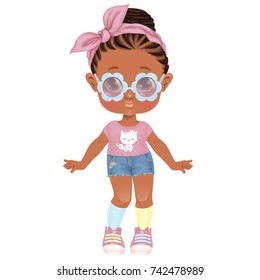 Beautiful Stylish Toddler Girl. Paper Doll for Dress Up Game. Isolated vector illustration.