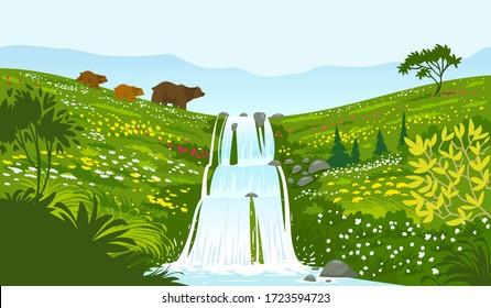 Beautiful stylized bear families walk past a waterfall. Breathtaking view wallpaper. Vector illustration