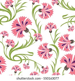 Beautiful stylized carnations seamless pattern, elegant floral repeating background