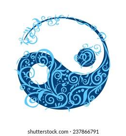 Beautiful stylized yin yang in plant curled patterns