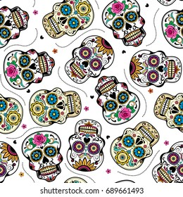Beautiful sugar skulls seamless pattern