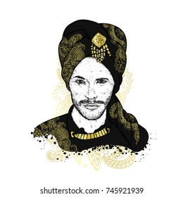 Beautiful sultan in a turban with patterns. Vector illustration. Oriental man. Fashion & Style.