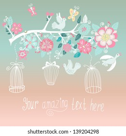 Beautiful summer background with the blossom branch and cute birds. Bright illustration, can be used as invitation card for wedding, birthday and other holiday and cute summer background.