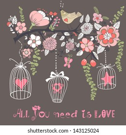 Beautiful summer background with the blossom branch, bird cages and cute bird. Bright illustration, can be used as invitation card for wedding, birthday and other holiday and cute summer background.