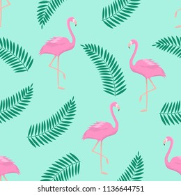 Beautiful summer background with flamingos and tropical leaves. Vector illustration.
