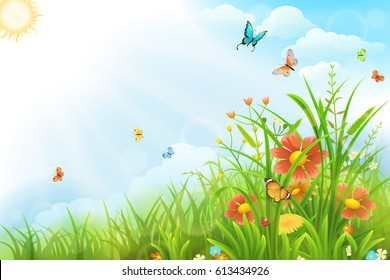 Beautiful summer background with green grass, flowers and butterflies