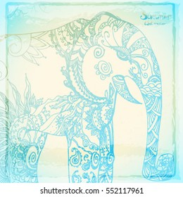Beautiful summer background with patterned Elephant