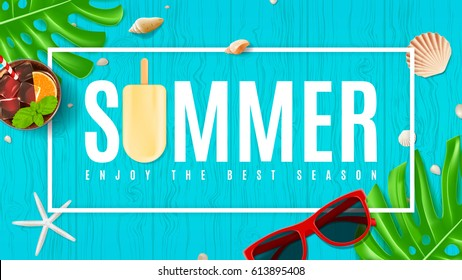 Beautiful summer background with seashells. Top view on composition with sun glasses, fresh cocktail and ice cream on wooden texture. Vector illustration. Web banner of summer vacation.