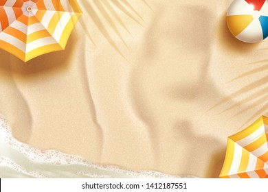 Beautiful summer beach background with parasol and beach ball in 3d illustration