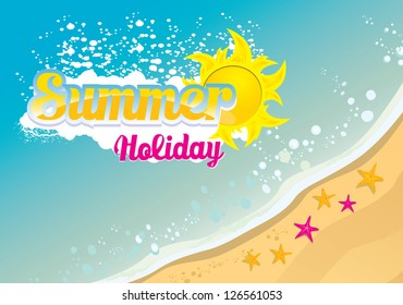 beautiful summer beach illustrations with star and shells . beach party vector flyer. summer holiday vector background.