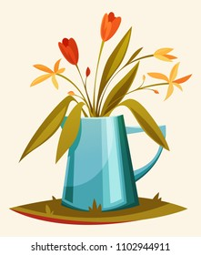 A beautiful summer bouquet in a watering-can. Vector cartoon illustration. Botanica. Romance.