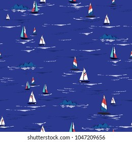 Beautiful Summer bright Hand drawing colorful wind surf seamless pattern in vector. Flat style illustration. Summer beach surfing illustration in the ocean on sea blue  background.