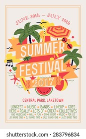 Beautiful summer festival web banner or printable poster template with circle composition of palms, beach items, music notes and more. Ideal for seasonal event announcement or invitation
