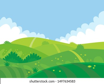 beautiful summer fields landscape design vector in flat cartoon style banner for any use. Trendy vector illustration