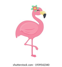 Beautiful Summer Flamingo Vector Decorate the head with flowers and a crown.