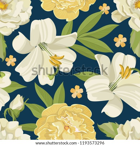 Beautiful Summer Flowers Seamless Pattern Vintage Stock Vector