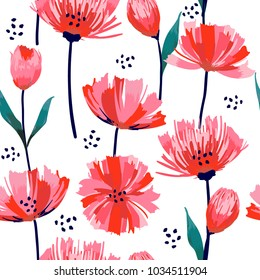 Beautiful summer freshy Trendy Wild blooming flower pink tulip  seamless pattern in a hand drawing style. Aquarelle wild flower on white background, texture, wrapper
