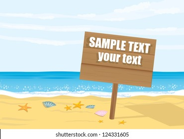 beautiful summer illustrations with wooden sign / board for text . beach party vector flyer. summer beach vector background.