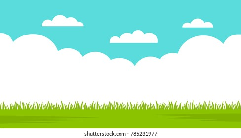 Beautiful summer landscape - blue sky and green grass. vector illustration isolated illustration