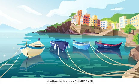 Beautiful summer landscape. Seaview background. Harbour with boats, rocks, hills, mountains and old town. A view from the water of Riomaggiore, Cinque Terre. Italy. Cartoon vector illustration,