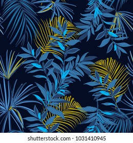 Beautiful Summer night Seamless monotone blue and yellow tropical pattern. Leaves palm tree illustration. Modern graphics. Exotic forest on navy blue  and trendy  background