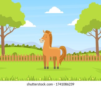 Beautiful Summer Rural Landscape with Green Field and Grazing Horse Barn Cartoon Vector Illustration