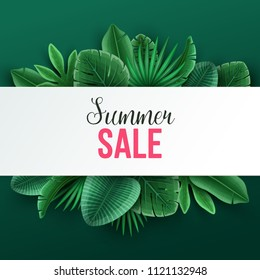 Beautiful summer sale background with palm leaves. Vector illustration.