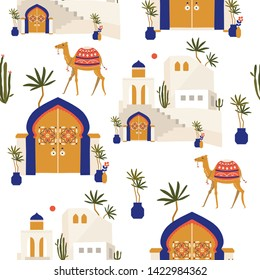 Beautiful summer seamless pattern with camel, house, plants, palm leaves and Moroccan entry doors on a bright background. Moroccan riads. Cartoon characters.