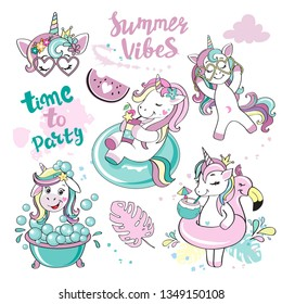 A beautiful summer unicorn collection on a white background