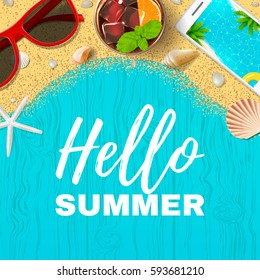 Beautiful summer vacation banner. Top view on seashells, sun glasses, fresh cocktail, smartphone and sea sand on wooden texture. Vector illustration.
