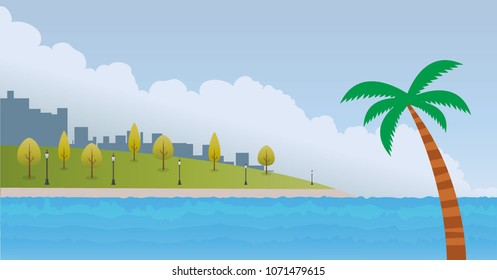 beautiful summer vacation landscape design for the web banner, poster, document, wallpaper. beach illustrations for enjoy. sea wide buildings, park, clouds, tree.
