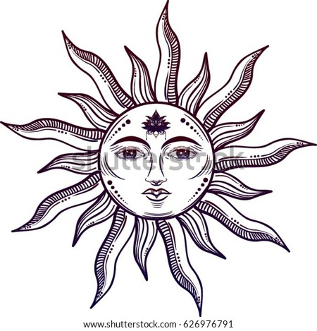beautiful sun face symbol lotus flower stock vector royalty free rh shutterstock com Happy Face Sun Large Sun Face Wall Art
