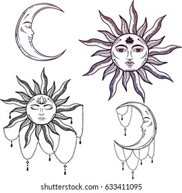 Beautiful sun face symbol Tattoo design.Vector illustration. Alchemy symbol on mandala background