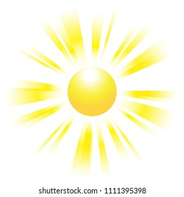 Beautiful sun with fading rays. Sunbeams. Vector illustration