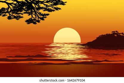 Beautiful sundown in beach with tree silhouette