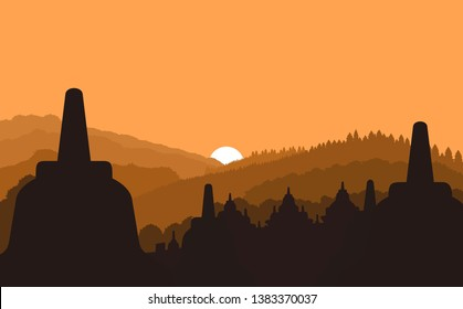 Beautiful sunrise in Borobudur Indonesia flat landscape vectors