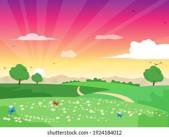 beautiful sunrise landscape green trees flower butterflies vector