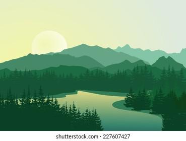 Beautiful sunrise at mountain lake. Vector landscape.