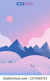 Beautiful sunrise or sunset snow winter mountain landscape with moon or sun. Vector concept for weather app. Nature scenery background vector illustration