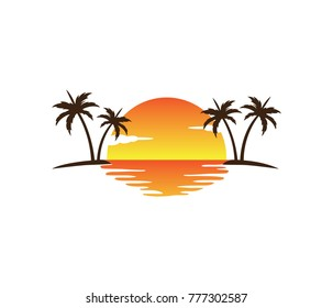 beautiful sunset in the bay between two palm coconut tree vector logo design