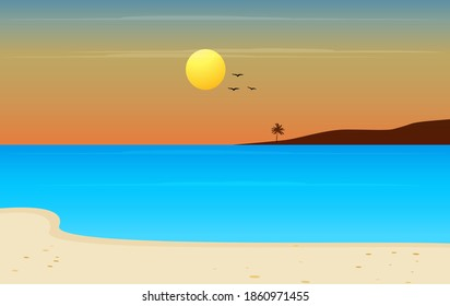beautiful sunset beach blue water sea landscape view vector