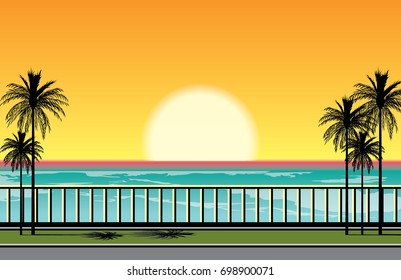 Beautiful sunset at the beach. vector illustration of setting sun at the seafront with palms and parapet