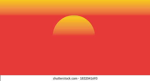 Beautiful sunset, half of the sun On the red background of the sunset light,Denote the end of the day.sunset and sunrise concept.Safari theme.