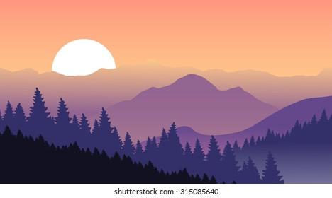 Beautiful sunset at mountains. Vector illustration