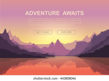Beautiful sunset over Mountains.  Mountaineering and Traveling Vector Illustration. Vacation and Outdoor Recreation Concept.
