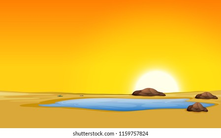 Beautiful sunset pond desert scene illustration