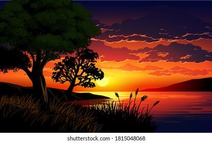 Beautiful sunset scene in the lake