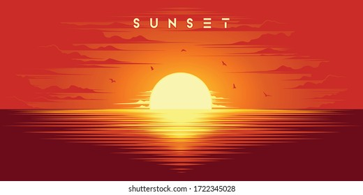 Beautiful sunset in summer illustration vector