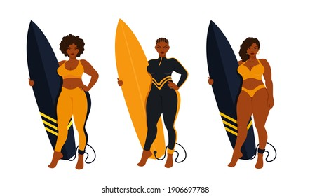 Beautiful surfer curvy women holding a surfboard, wearing a full black wetsuit. A surf board with a surfing leash. A vector cartoon illustration.